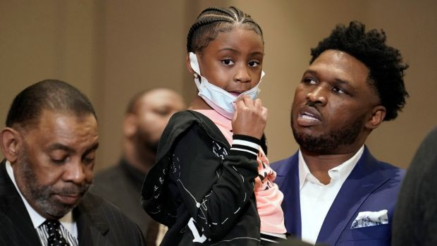 Gianna Floyd, the daughter of George Floyd, joins family and supporters during a news conference on Tuesday after the verdict was read in the trial of former Minneapolis police officer Derek Chauvin. Photograph: John Minchillo/AP