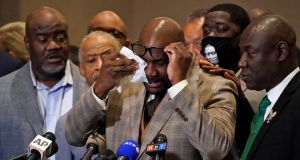 George Floyd's brother Philonise Floyd wipes his eyes during a news conference on Tuesday, after former police officer Derek Chauvin was found guilty of the murder of Mr Floyd. Photograph: Julio Cortez/AP