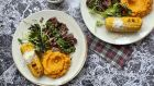 Barbecued steak with chimichurri and sweet potato