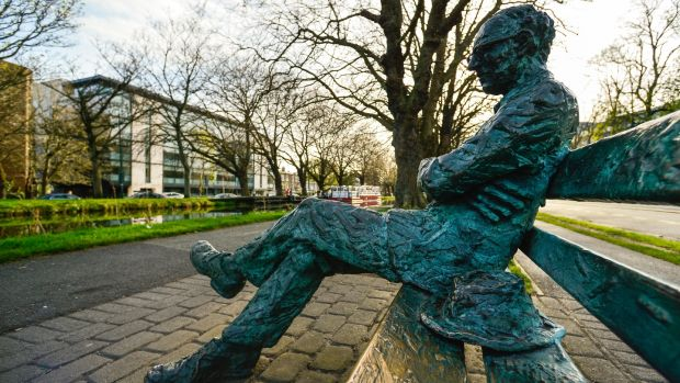 The statue of Patrick Kavanagh on the banks of the canal in Dublin. Photograph: Artur Widak/NurPhoto via Getty