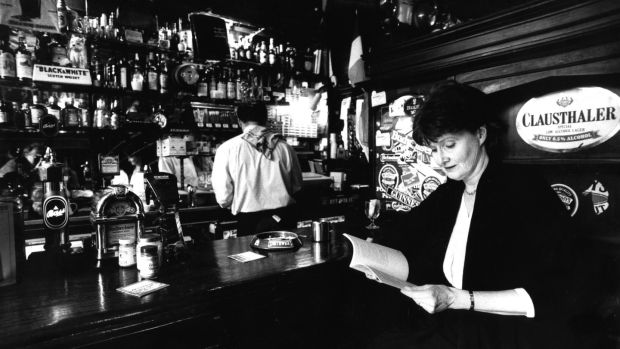 Eavan Boland reading from her collection of poems, In a Time of Violence, at the Guinness Writers' Lunch in Doheny and Nesbitt's, Dublin, in 1994. Photograph: Eric Luke