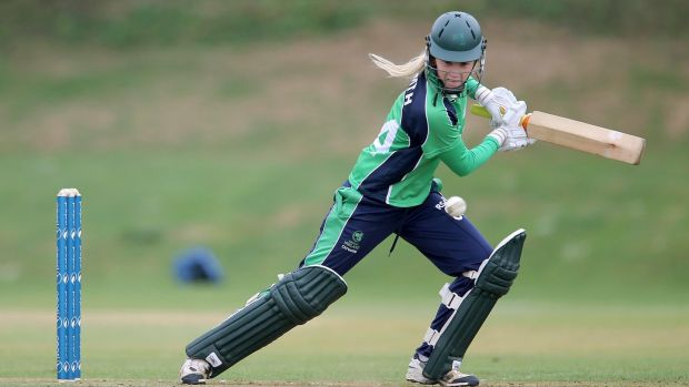 Kim Garth playing in the women's World Twenty20 Qualifier between Ireland and Canada in July 2013. Photograph: Lorraine O'Sullivan/Inpho