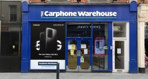 Carphone Warehouse had accumulated losses of €58 million here by the end of April 2019, a signal that it was trading poorly long before the Covid-19 pandemic hit the Irish economy. Photograph: Dara Mac Donaill