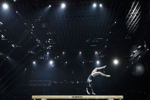 BALANCING ACT: Switzerland's Lilli Leanne Habisreutinger performs on the balance beam during the women's qualification round of the 2021 European Artistic Gymnastics Championships in the St Jakobshalle, in Basel, Switzerland. Photograph: Alexandra Wey/EPA