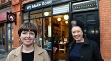 Joan Ellison and Caroline Gardner of We Make Good at their shop on Fade Street, Dublin. Photograph: Dara Mac Dónaill.