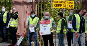 Technicians belonging to the Independent Workers' Union on strike outside the ESB South Lotts depot in Dublin. Photograph: Laura Hutton