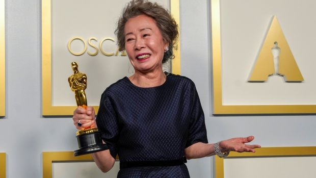 Yuh-Jung Youn, winner of Best Actress in a Supporting Role for Minari. Photograph: Chris Pizzello-Pool/Getty Images