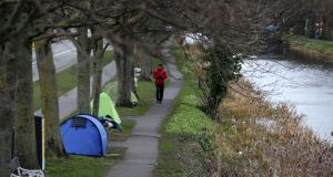 I'm sick of the sight of my house. And there are tents all along the canal. Tents, count 'em and weep. Photograph: Laura Hutton
