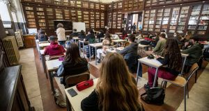 Students attend Visconti High School in Rome on Monday, the first day of  reopening. Photograph: Massimo Percossi/EPA