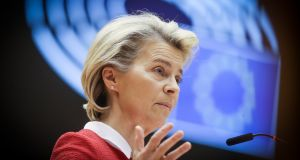 European Commission president Ursula von der Leyen speaks during the debate on EU-UK trade and co-operation agreement during the second day of a plenary session at the European Parliament in Brussels, Belgium. Photograph: Olivier Hoslet/EPA