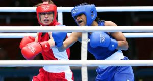 Katie Taylor in action against  Natasha Jonas in the quarter-finals of the women's 60kg lightweight at the 2012 Olympic Games at the ExCel Arena in London. Photograph: Dan Sheridan/Inpho