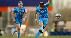 Leinster's Ross Byrne takes a kick during the Heineken Champions Cup quarter-final against Exeter at   Sandy Park. Photograph: James Crombie/Inpho