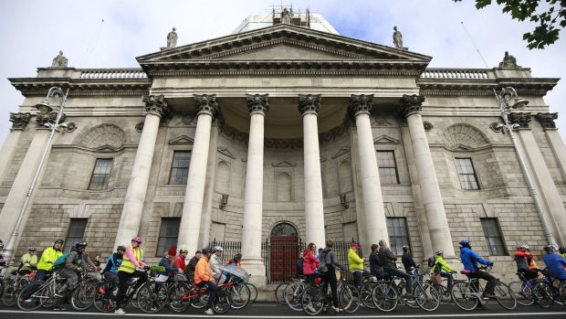 Cycling campaigners pass the Four Courts in Dublin in September 2017, in support of a Liffey cycle route. Photograph: Nick Bradshaw