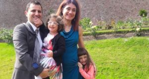 Valeria Marino with her husband Marcello D'Angelone and their daughters Isabella and Beatrice. Valeria needs to bring 7-year-old Isabella to Italy for a medical procedure but says two weeks quarantining in a hotel room without support could be dangerous for her daughter.