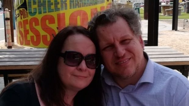 Robert Pether, who is detained in Iraq, with his wife, Desree.