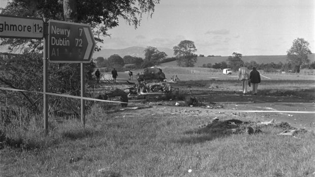 The scene of the Miami Showband massacre on the A1 between Banbridge and Newry on July 31st, 1975. Photograph: Independent News and Media/Getty Images