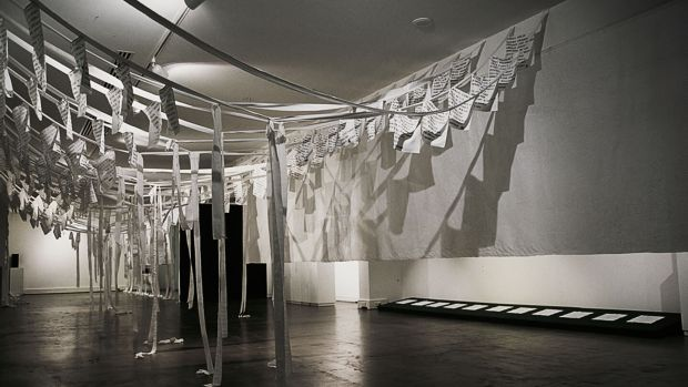 An exhibition of the Linen Memorial by Lycia Trouton