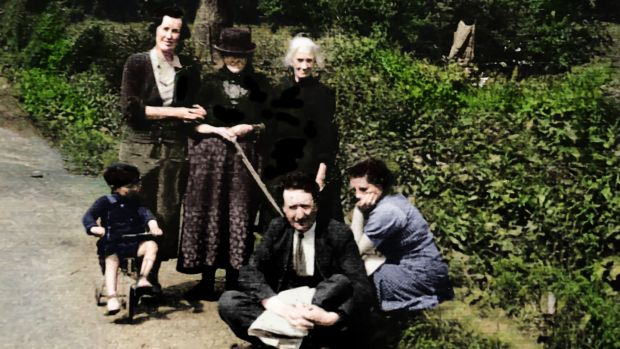 My grandfather Arthur Pat, my grandmother Elizabeth, back left, and neighbours in Lawrencetown.