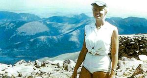 Arlene Pieper Stine at the top of Pikes Peak in Colorado in the 1950s. Photograph: Pikes Peak Marathon/The New York Times