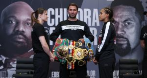 Katie Taylor, promoter Eddie Hearn and Natasha Jones ahead of Saturday's fight. Photo: Mark Robinson/Matchroom Boxing./Inpho