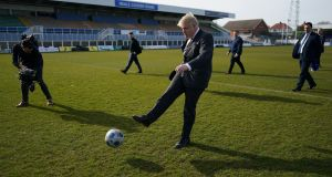 UK prime minister Boris Johnson at Hartlepool's ground last week. Photo: Ian Forsyth/Getty Images
