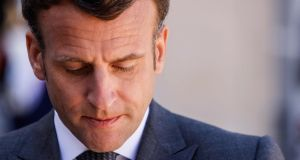 French president Emmanuel Macron: Polls indicate he  would win 54 per cent of the vote in a presidential run-off, against 46 per cent for Marine Le Pen. Photograph: Ludovic Marin/AFP
