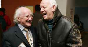 Michael D Higgins and actor Tom Hickey at Liberty Hall, Dublin, November 2005. File photograph: Frank Miller