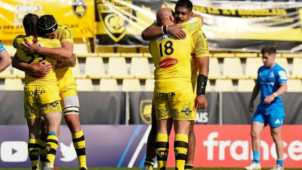 La Rochelle's Will Skelton celebrates with Arthur Joly after their win. Photograph: Dave Winter/Inpho