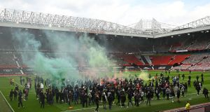 "Geoff Shreeves reached for the familiar: ""This is obviously NOT what we want to see, and the security here at Old Trafford . . . has failed.""  Photograph:  Oli Scarff/AFP via Getty Images"