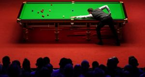 Mark Selby during Sunday's second session of the World Snooker Championship final at the Crucible. Photograph: Getty Images