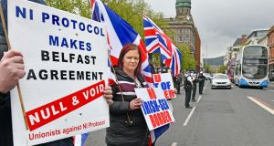 Loyalists protesting  against the Northern Ireland Protocol    outside Belfast City Hall last weekend. Photograph: Alan Lewis/Photopress
