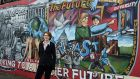 Looking to a better future: Rosemary Jenkinson at a mural in east Belfast