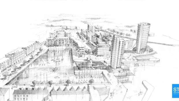 An image of how it is envisaged the harbour area will look after the redevelopment has been completed.