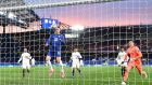 Chelsea's  Timo Werner heads home his side's first goal in the Champions League semi-final, second leg against Real Madrid  at Stamford Bridge. Photograph:  Glyn Kirk/AFP via Getty Images