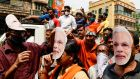 Supporters of Narendra Modi's Bharatiya Janata Party at an  election rally in Kolkata,  West Bengal, in March.  Photograph: Bikas Das/AP