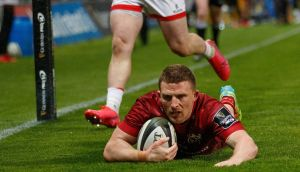 Munster's Andrew Conway scores a try against Ulster in their Rainbow Cup clash. Photograph: James Crombie/Inpho