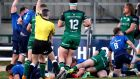 Leinster's James Tracy scores a try against Connacht. Photograph: Bryan Keane/Inpho