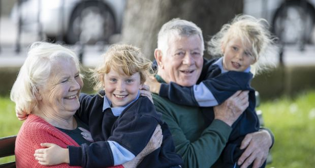 Camilla (left) and Brendan O'Brien with their grandchildren Chloe (7) and Jessica (4). Photograph: Tom Honan