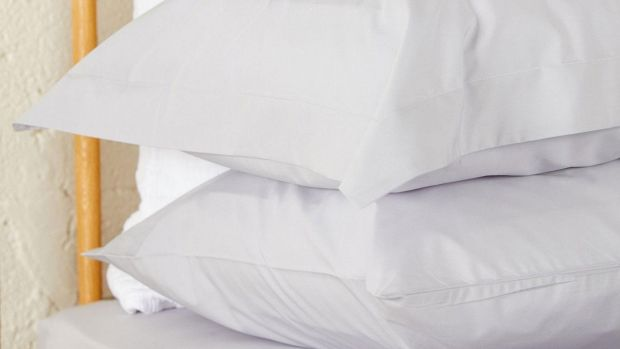 Foxford misty grey Percale plain dye housewife pillowcases, pair €25 at Arnotts.
