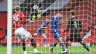 Leicester City's Luke Thomas  scores their  first goal  during the Premier League match against Manchester United  at Old Trafford. Photograph: Michael Regan/PA Wire