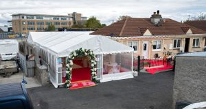 The wedding marque at Burton Park, Leopardstown, this afternoon which has been ordered to be taken down by Judge Sinead  Ni Chulachain. Photograph: Colin Keegan/Collins