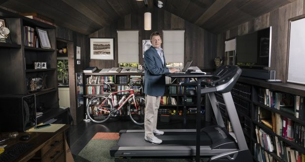 Michael Lewis, the bestselling author, in his writing cottage in Berkeley, California. Photograph: Peter Prato/The New York Times