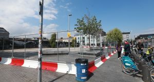 Portobello Plaza in Dublin which has been closed off this weekend by Dublin City Council due to what they describe as unaccepatable behaviour. Photograph: Laura Hutton