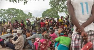 Internally displaced persons gather in  Matuge, northern Mozambique, on February 24th following  attacks by Islamist militants. Photograph: Alfredo Zuniga/AFP via Getty Images