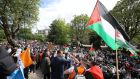 A large crowd protests outside the Israeli embassy in Dublin on Saturday. Photograph: Nick Bradshaw/The Irish Times