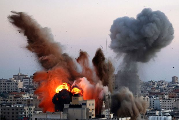 Smoke billows after an Israeli airstrike on Gaza City targeted the Ansar compound, linked to the Hamas movement. Photograph: Mahmud Hams/AFP via Getty