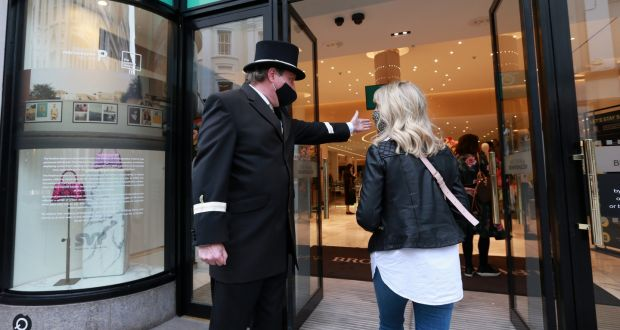 Concierge Shane Murphy welcomes customers to Brown Thomas on Grafton Street. Photograph: Laura Hutton / The Irish Times.