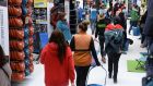 Shoppers in Decathlon in Dublin on Monday as the store reopens. Photograph: Dara Mac Dónaill/The Irish Times