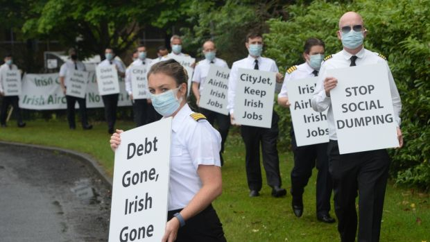 Dublin-based pilots from CityJet picket outside the company's headquarters at Swords Business Campus, Co Dublin on June 23rd, 2020. Photograph: Dara Mac Dónaill/The Irish Times