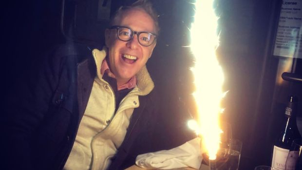 Mark O'Toole celebrates his birthday outdoors in February 2021 during a snowstorm
